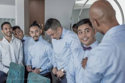 Sydney Groom Ermel and his groom's men getting ready for his wedding at the Lakes Sydney