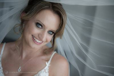 Sydney Bride Rachel just after putting on her wedding veil and preparing for her wedding ceremony at the Lakes Sydney