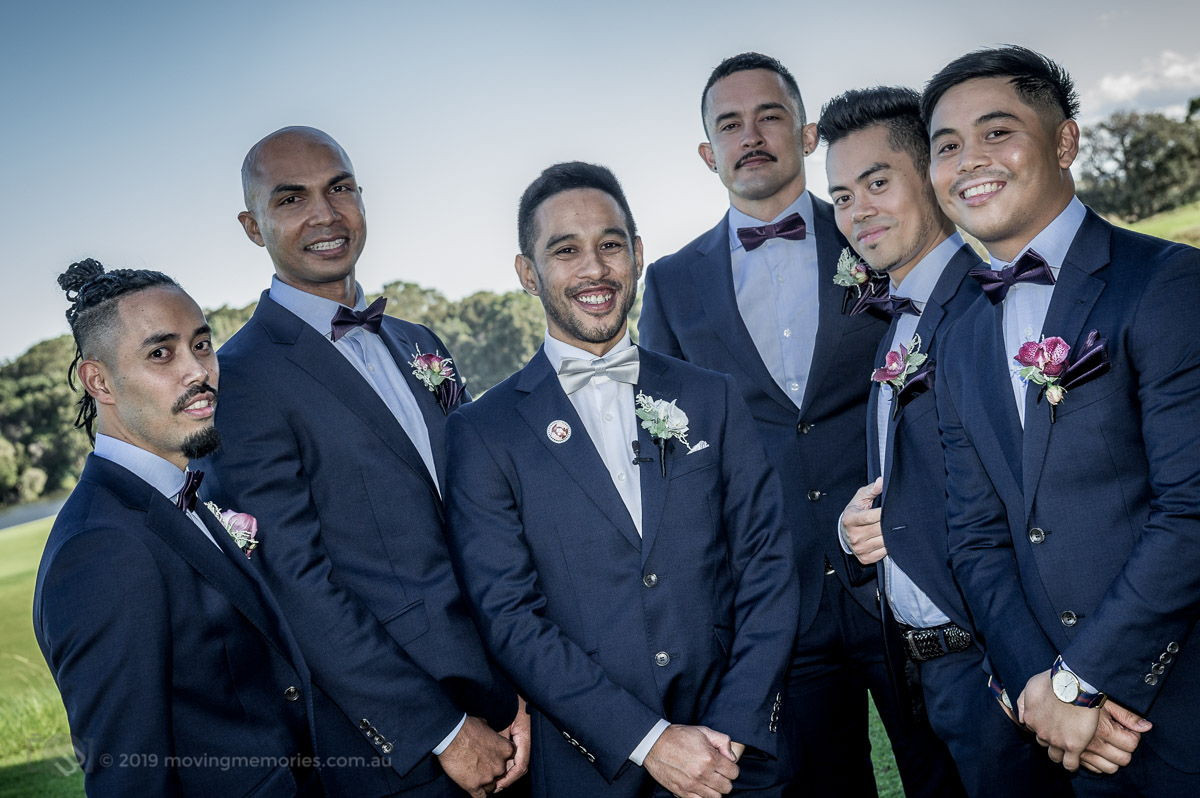 Sydney Groom Ermel, with his grooms men posing for a shot just before his bride arrives at the Lakes Sydney