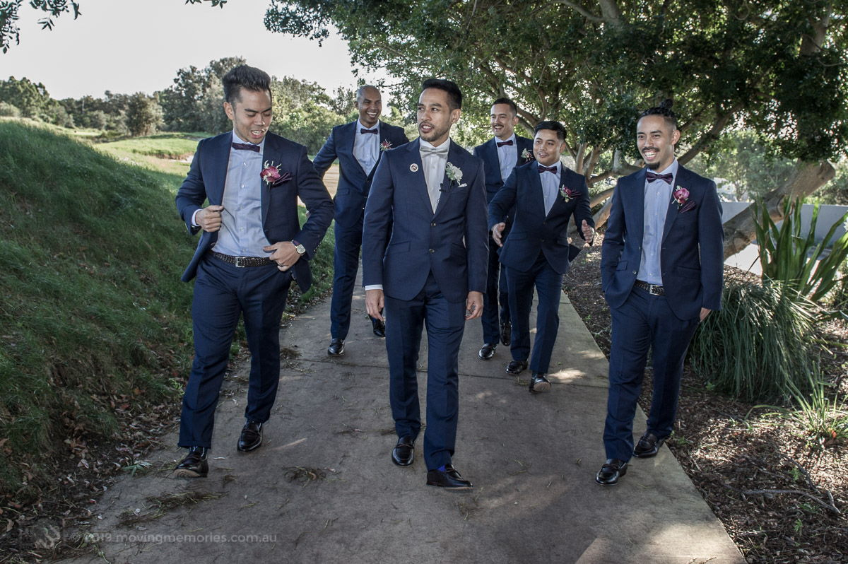 Sydney Groom Ermel, strolling with his grooms men towards the ceremony just before his bride arrives at the Lakes Sydney