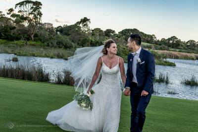 Sydney Bride and Groom scroll in the ground of the golf course at the Lakes Sydney