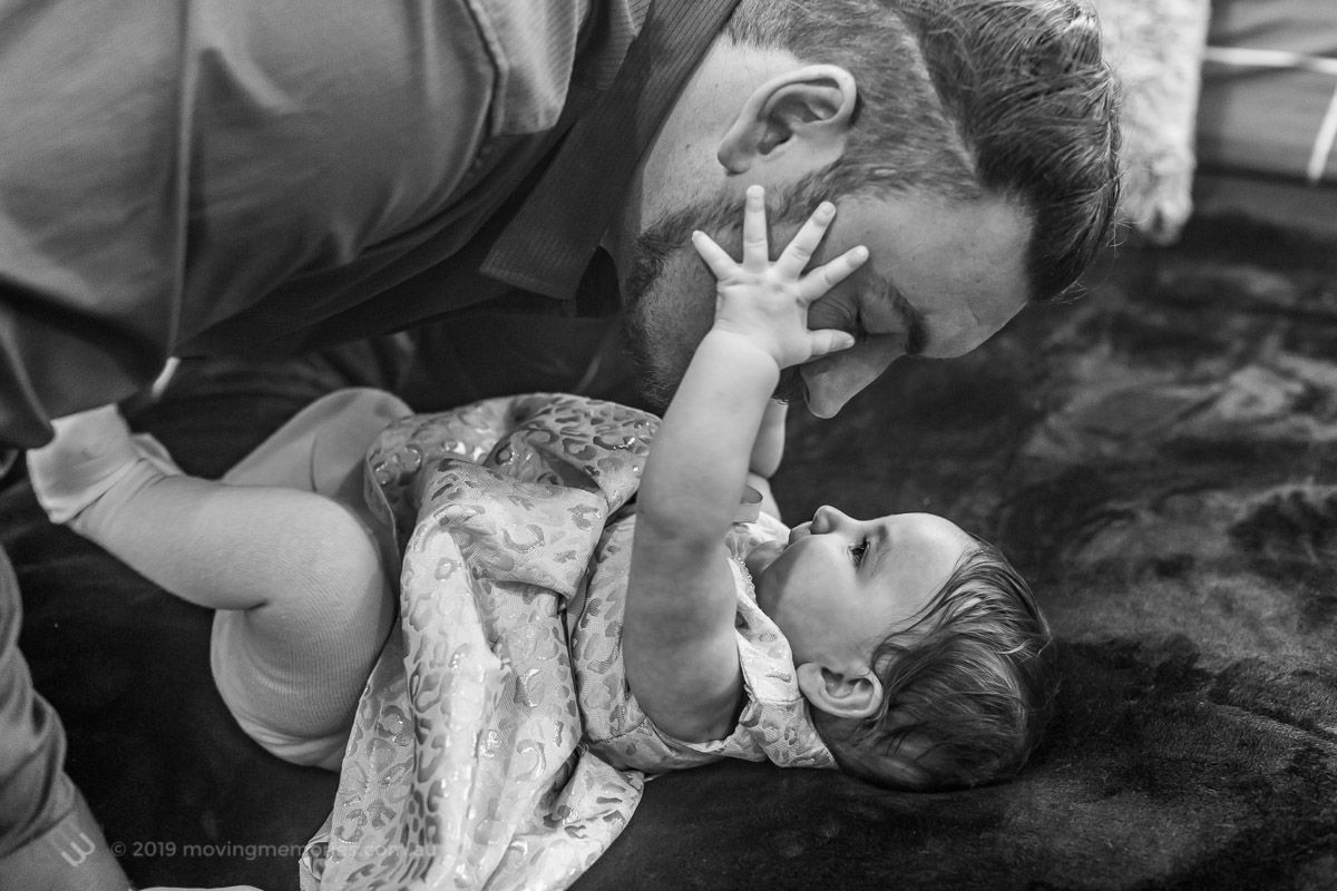 black-and-white-shot-with-her-father-as-they-prepare-at-home-for-Baby-Girl-Andrjea-Christening-at-Macedonian-Orthodox-Church-Wollongong-Panorama-House
