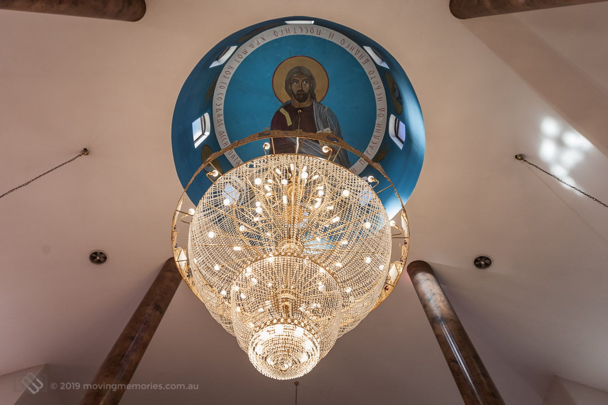 the-extraordinary-decoracted-ornate-ceiling-and-chandelier-before-the-service-for-Baby-Girl-Andrea-Christening-at-Macedonian-Orthodox-Church-Wollongong-Panorama-House