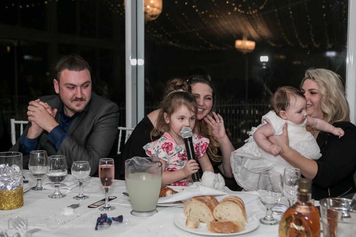big-sister-decides-to-speak-to-the-guests-at-the-reception-for-Baby-Girl-Andrea-Christening-at-Panorama-House-Bulli-Tops-near-Wollongong